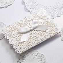 50Pcs Laser Cut Wedding Invitation Card Envelope Engagement Party Cards White Paper Wedding Invitations Custom Printable