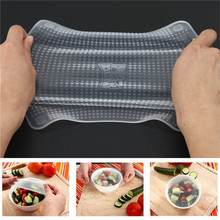 4pcs /set Multifunctional Food Fresh Keeping Saran Wrap Kitchen Tools Reusable Silicone Food Wraps Seal Vacuum Cover Lid Stretch(China)