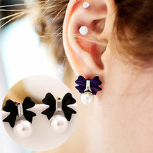 ES974 Bow Stud Earrings for Women Simulated Pearls Crystal Earring Fashion Jewelry Brincos Bowknot Bijoux 2017 HOT Selling