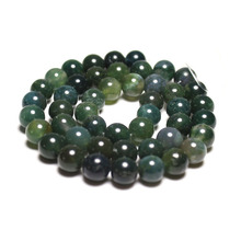 Wholesale Moss Grass Agate  Natural Stone Round Loose Green Beads For jewelry Making 4/6/8/10/12 MM DIY Bracelet Strand 15.5''