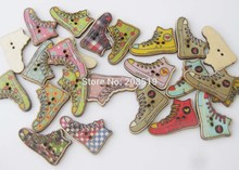 WBNKWG Nature wood background sewing buttons shoes Pattern Mix 120pcs Decorative bulk craft supplies(China)