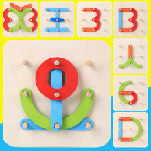 Wooden Letter Number Assembled Blocks Toy Intellectual Children Gift Creative(China)