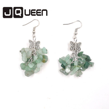 2017 Vintage Alloy Bowknot style Green chalcedony earrings fashion earrings Birthday Gift Garment Accessories Trendy