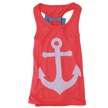 2017 New Summer Baby Girl Tshirt Vest Kids Anchor Red T Shirt Top Clothes O-Neck Sleeveless Blouse T-Shirt With Bow PA986391