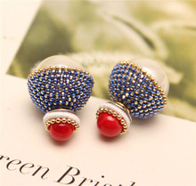 2016 new design fashion brand spring color elegant fine jewelry double side stud earrings for women big beads Statement earings