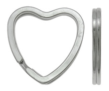 YYW 10PCs Factory Wholesale Jewelry Key Chain Clasp DIY Making Accessories Silver-color Metal Split Ring 31x3mm Heart Findings
