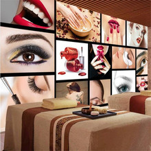 beibehang Europe and the United States fashion beauty salons semi-permanent facial brow lip nail wall custom mural wallpaper(China)