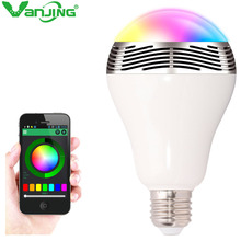 Wireless Bluetooth Colorful Loudspeaker LED RGB Bulb Light Music Player App 110V - 240V E27 Lamp Audio Android ISO iPhone iPad