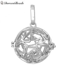 DoreenBeads Copper Wish Box Pendants Round Silver Tone Star Carved Can Open (Fit Bead Size: 16mm) 3.4cm x2.5cm, 1 PC