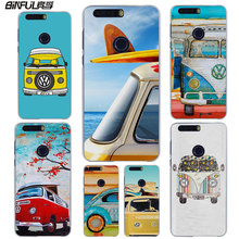 BiNFUL Vintage Volkswagen VW Bus Summer Beach style clear phone Case cover for Huawei for Honor 7 8 lite V8 Honor 6X 5X 4X 4C 5C(China)