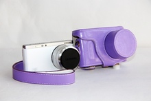 Free Shipping High Quality PU Leather Camera Case Bag For Samsung NX Mini 9-27MM Lens With Strap  Purple