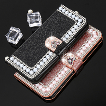 Luxury Pearl Flip Leather Case For iPhone 7 7 Plus 6 6S Plus 5 5S SE Case Women Girl Glitter Bling Diamond Wallet Cover Stands(China)