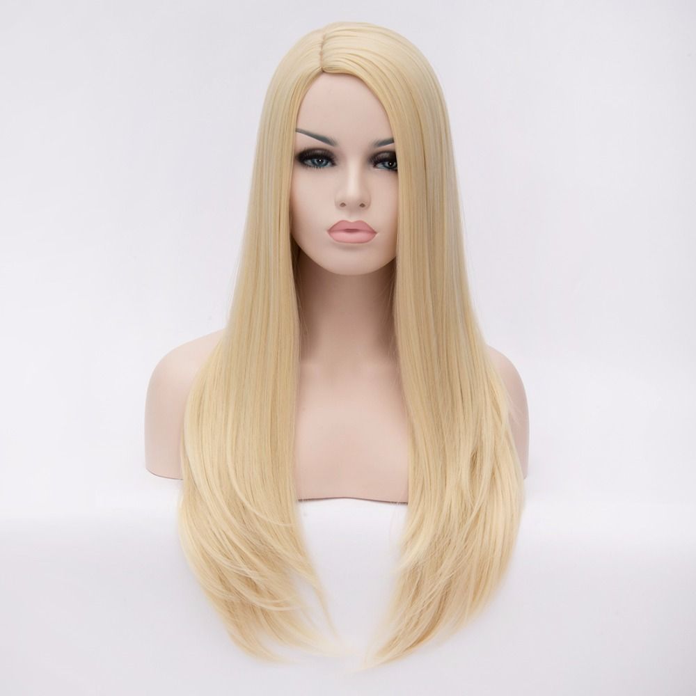 High quality 28inch Long Blonde synthetic hair Wigs Heat resistant women hair wig,light gold womens anime cosplay full hair wig<br><br>Aliexpress