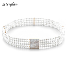 Four rows of pearl elastic girdle belts for women dresses with elastic strap 2017 female casual cinturon elastico hombre F007