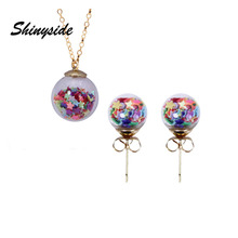 2017 new summer style glass star jewelry set stud earrings for women metal statement necklaces&pendant free shipping