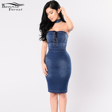 Bonnie Forest Sexy Fitted Medium Denim Dress Off The Shoulder Choker Skater Dress Summer Lace Up Detail Strapless Jeans Dress