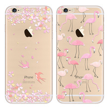 Ultra Slim Transapent Birds Swallow Flamingos Phone Cases For iPhone 5 5S SE 6 6S 6Plus 6SPlus Women Cute Mobile Phone Cover