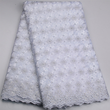 White Nigerian Lace fabrics 2017 African Swiss Voile Lace High Quality Swiss Voile Lace in Switzerland For Wedding AMY575B-B