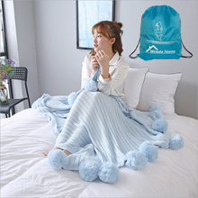 100%Cotton Pompoms Cotton Knitted Couch Cover Blankets Bedding Napping Throws Adults and Children Best Welcome Knitting Blanket