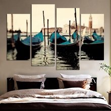 Fashion Painting 4pcs Free Shipping blue boat Seascape Modern Wall Poster Home Decorative Art Picture Paint On Canvas