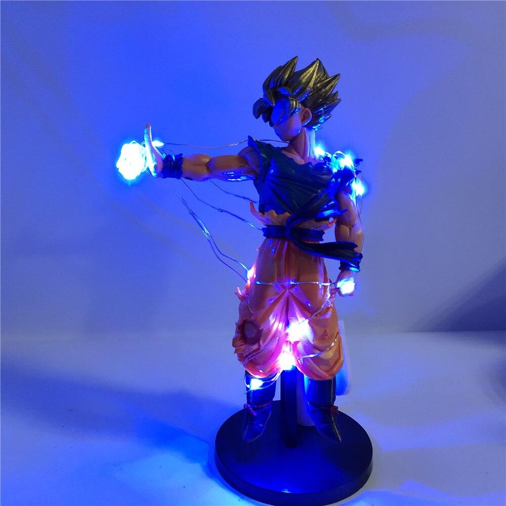 Dragon Ball Figure Sun Goku DIY Light Model Action Figures Anime Dragon Ball Z Super Saiyan Goku PVC Collectible Toys for Child