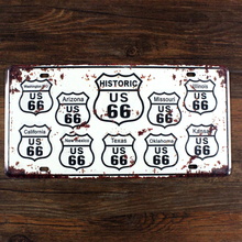 "SYF-A027 license plate car number ""  route 66 road USA "" vintage metal tin signs garage painting home decor plaque 15x30cm"