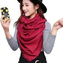 2017 Newest autumn winter scarves and shawls tassels Solid Scarf Women Fashion Shawl Soft Cotton Scarves pashmina Ladies YR002(China)