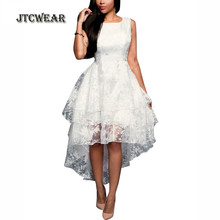 JTCWEAR 3 Layers White Sleeveless Organza Tunic Flared Prom Party Club Special Occasion Woman Swing Dress 263(China)