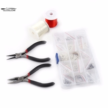 1 Set DIY Silver Plated Jewellry Making Starter Kits Beads Tools Calotte Crimps Pins Chain Pliers Tool DIY Jewelry Accessories(China)