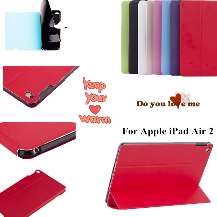 Ultra thin Stand Flip PU leather case TPU back cover  for For ipad air 2 ipad 6 magnet Tablet Case + screen protector+stylus<br><br>Aliexpress