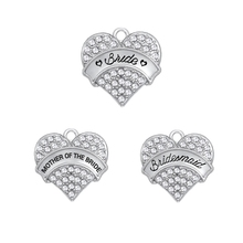Buy shape 5pcs Zinc Alloy Rhodium Plated Happiness Bride Bridesmaid Clear Crystal Heart Charm Jewelry Making diy pendant for $8.98 in AliExpress store