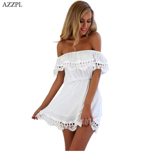 SVYMRL  2017 New Summer Women Beach style White Black Lace Stitching dress Off shoulder strapless slim Mini Dresses Vestido