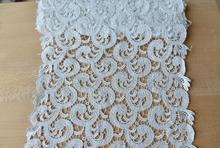 1 Meter 25cm Width White African High Quality Net Lace Guipure Mesh Lace Fabric For Dress