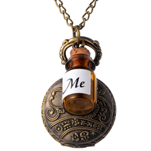 Cindiry Vintage Glass Alice In Wonderland Drink Me Bottle Dark Brown Quartz Pocket Watch for Women Lady Girl Gift