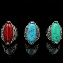 New Fashion Tibetan Silver Oval Charm Carved Natural Oval Stone Adjustable Ring Jewelry Women's Red Green Ring Vintage Ring