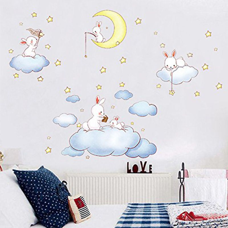 Cartoon White Clouds Rabbit Wall Stickers For Kids Rooms Baby Bedroom Home Decor Wall Art Decor