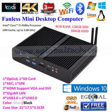 DHL Free Shipping Eglobal Fanless HTPC Thin Client with Intel Core i7 8GB RAM 1600MHz 128GB SSD 500GB HDD Pre-installed Windows8