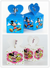 Free Shipping 12 X Minnie/Mickey Wedding Candy Box Children Birthday Gift Box Baby Shower Party Favor Box(China)