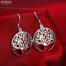 Wholesale elegant Silver Tree Of Life drop earrings totem gift wife unique women earing wedding arbre argent(China)