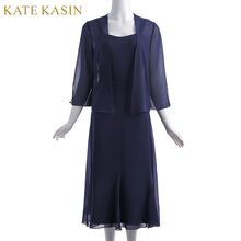 Kate Kasin Women 2pcs Set Chiffon Evening Dresses Open Front Jacket Tea Length Party Gown Navy Blue Mother of the Bride Dresses(China)