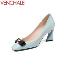 Buy VENCHALE bowtie hot sale pearl elegant skid resistance female square toe shoes high heels comfortable spats pumps large size for $42.75 in AliExpress store