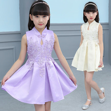 Chinese Style Girls Cheongsam Dress Child High Quality Satin Silk Sleeveless Party Wedding Prom Dress For Princess Dresses
