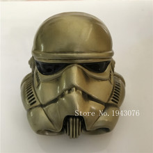 Retail New Style 3D Star Wars Bronze Stormtrooper Helmet Belt Buckle With 8X8cm Metal Cowboy Belt Head Fit 4cm Wide Belt