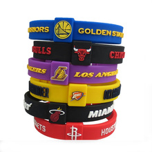 KLEEDER basketball team sports men's NBA bracelets wristbands silicone fitness thickening adjustable Wristband Bracelet(China)