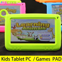 7 inch WeCool Kids Learning Tablet PC with Silicon Bracket Case Android 4.4 OS Quad Core 8GB HD Screen Child Games PAD 4 colors