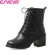 ESVEVA 2018 Women Boots Handmade Short Plush Black Square High Heels Ankle Boots Lace up Western Style Ladies Shoes Size 34-43(China)