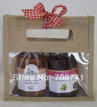 T072,Free Shipping,100pcs/lot,20X20X9cm,Two 2 bottles Jute Jar Bag with Clear Window,Die Cut Handle,No Divider,Custom Accept(China)