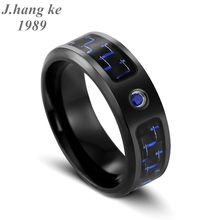 J.K Brand jewelry shop luxury pure hard stainless steel finger ring classic blue and black carbon fiber men's ring anello uomo(China)