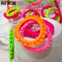 isnice 50pcs Colorful Plastic Elastics children's Kids candy color rubber band Girl Hair accessories headdress(China)
