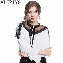 Buy 2018 Spring White Chiffon Blouse Women Shirts Ladies Tops Women's Fashion Blouses Lace Top Plus Size 5xl Womens Clothing YQ026 for $26.35 in AliExpress store